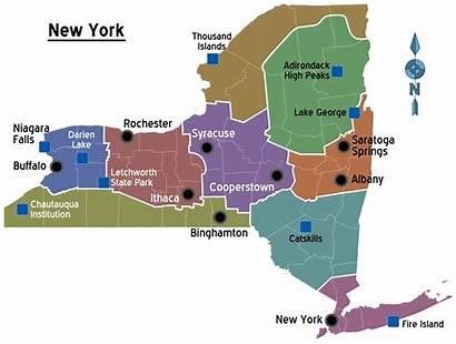 York Map Regions State Estado Staat Usa