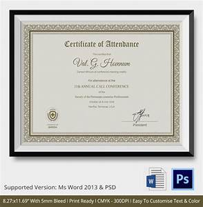 attendance certificate templates 23 free word pdf With conference certificate of attendance template