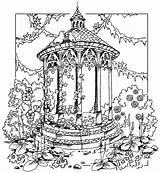 Gazebo Coloring Gate Template Adult Colouring Printable sketch template