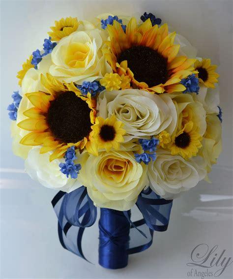17 Pieces Wedding Bridal Bouquet Round Sunflower Package