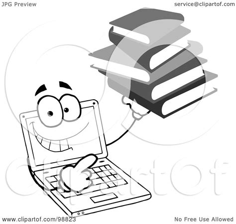 royalty free rf clipart illustration of a black and white laptop holding a stack of books