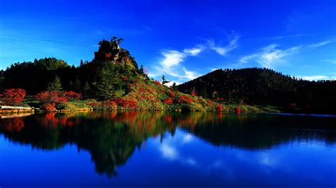 nature landscape clouds trees forest water