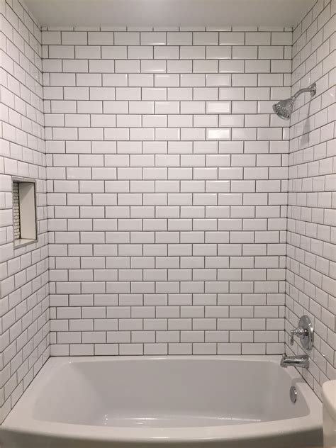 Bathroom Tile Grout by Beveled Bright White Subway Tile With Mapei Grey Grout