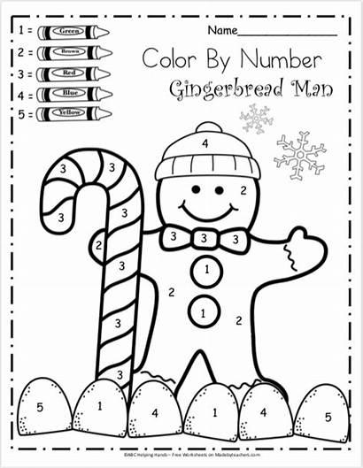 Number Kindergarten Worksheets Math Winter Gingerbread Boy