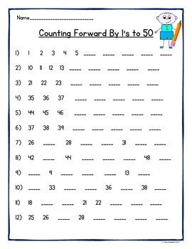 counting by 1 s 2 s 3 s 4 s 5 s and 10 s to 50 and