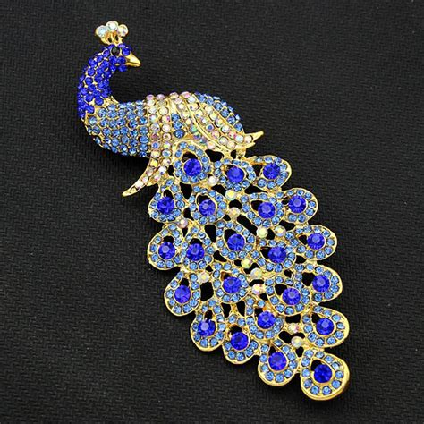large brooches pins  women blue peacock brooch