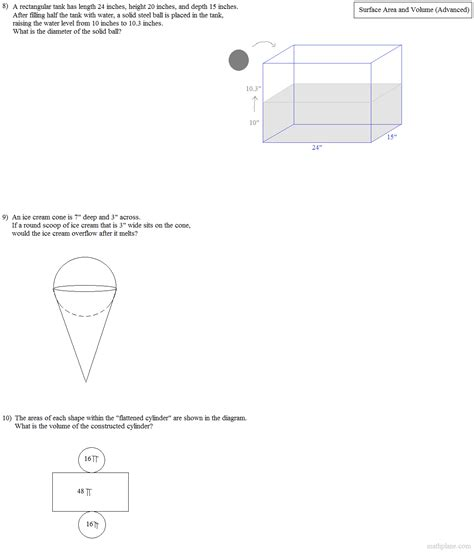 Math Plane  Surface Area And Volume (advanced
