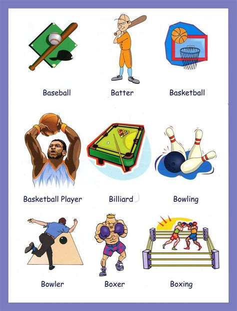 sports vocabulary  pictures
