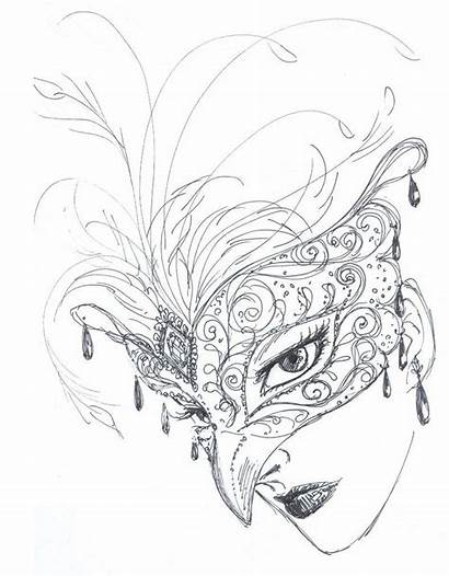 Mask Sketch Masquerade Drawing Rough Masks Venetian