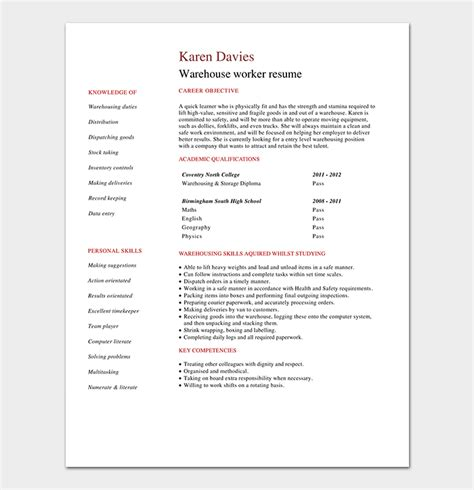 Free Sle Warehouse Resumes by Warehouse Worker Resume Template Free Sles Exles