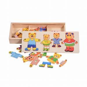 Puzzle En Bois Bébé : 3d puzzle en bois ensemble enfants b b jouets ducatifs ours changer de v tements puzzles ~ Dode.kayakingforconservation.com Idées de Décoration