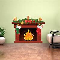 perfect christmas wall decals Christmas Fireplace Wall Decal Mural - Living Room Wall Decal Murals - Romantic Wall Decals ...