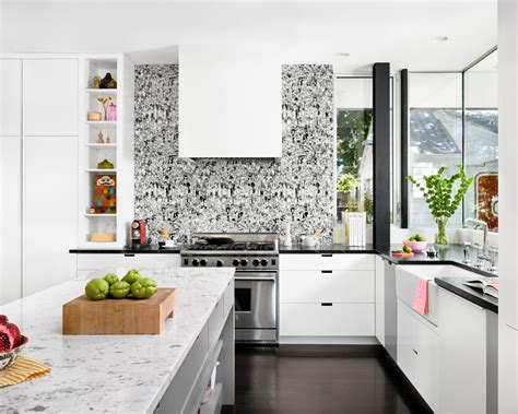 backsplash for black and white kitchen black and white kitchen ideas home interior design 9066