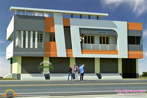 floor plan for duplex 5 shop with residence 2620 sqft kerala home design and