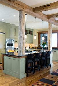 Post and beam design ideas kitchen rustic with kitchen