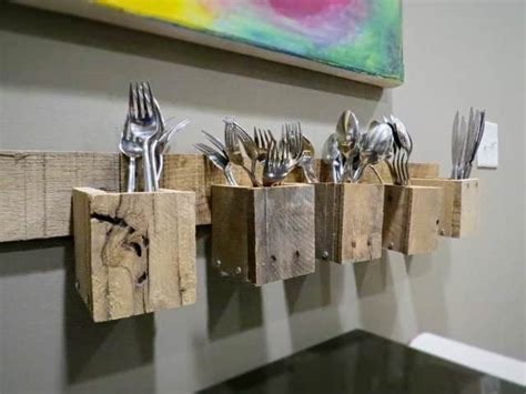 Pallet Wood Wall Mount Silverware Holder ? 1001 Pallets