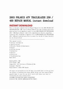 2003 Polaris Atv Trailblazer 250 400 Repair Manual Instant