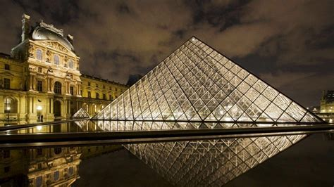full hd wallpaper louvre glass pyramid night paris