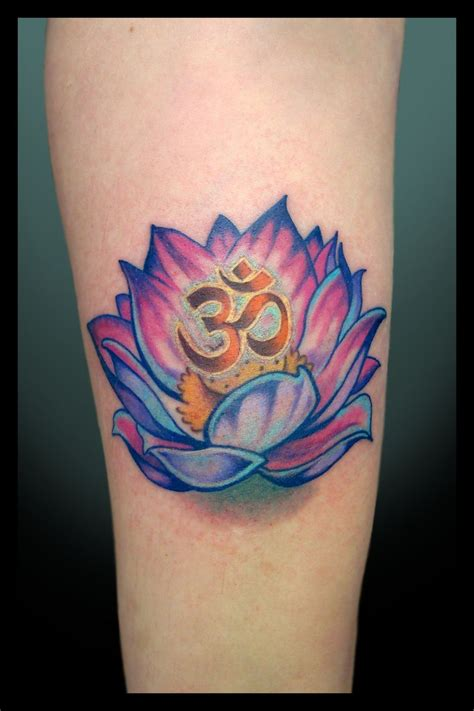 Ohm and Lotus Flower Tattoo