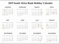 Free SA South Africa Bank Holidays 2019 Calendar