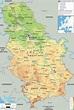 Physical Map of Serbia - Ezilon Maps