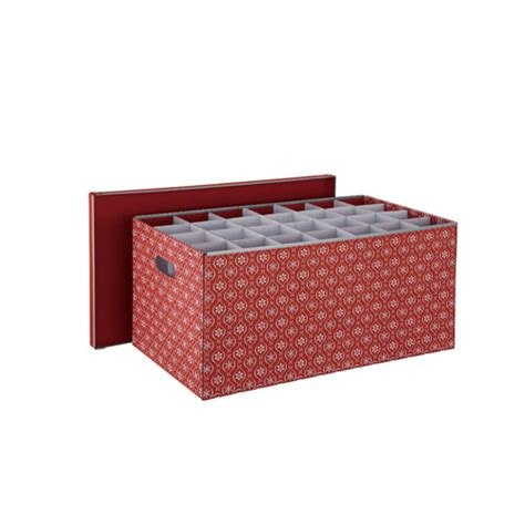 red holiday ornament box with 56 compartments organize it
