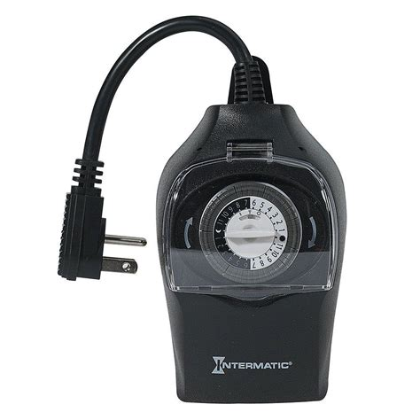 intermatic 10 24 hour outdoor plug in timer black