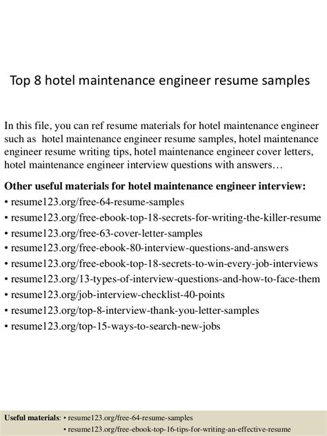 hotel maintenance engineer sle resume uxhandy