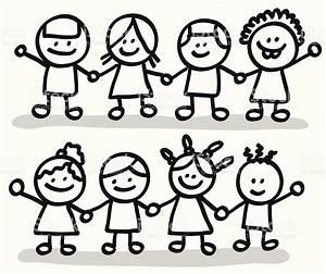 Grupo De Niños Felices Amigos Sosteniendo Las Manos ...