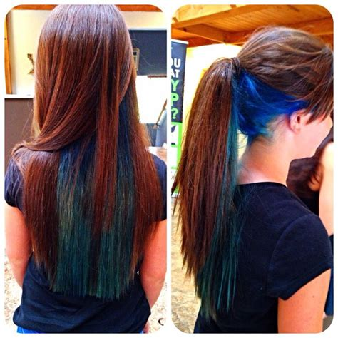 Hair With Color Underneath by Blue And Teal Layer Bright Longhair Colors