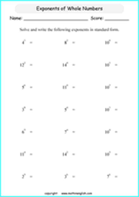 printable exponents  prower  ten math worksheets