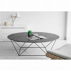 Table Basse Ronde Industrielle : table basse ronde industrielle tania en rev tement min ral noir ~ Teatrodelosmanantiales.com Idées de Décoration