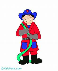 Firefighter clipart munity helper Pencil and in color