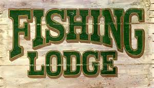 Fishing Lodge Antiqued Wood Sign