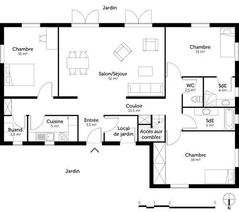 plans maisons plain pied 3 chambres plan maison plain pied 3 chambres maison moderne