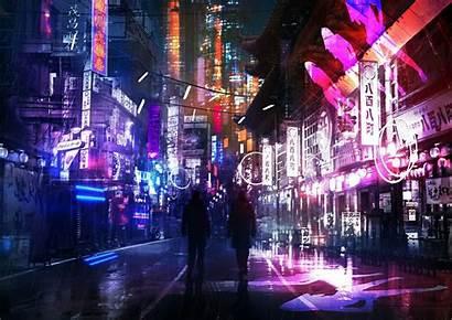 Neon Futuristic Street Cyberpunk Wallpapers Aesthetic Anime