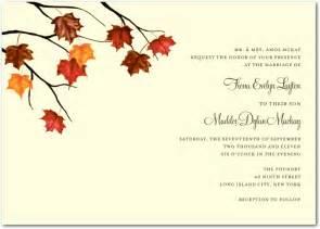 fall themed wedding invitations fall autumn wedding invitations
