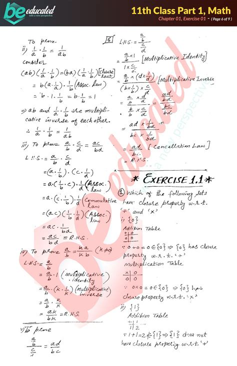 exercise  mathematics fsc part  notes inter part  notes