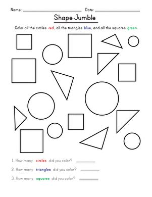 shape jumble worksheet education 672 | shape jumble shapes kindergarten