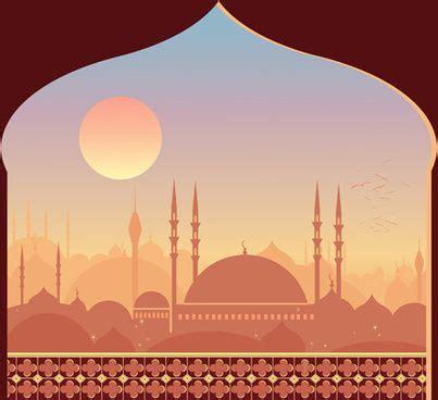 mosque night backgrounds vector gambar latar belakang