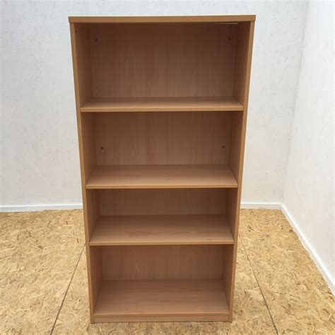 Second Bookcase beech bookcase with 3 shelves office kit