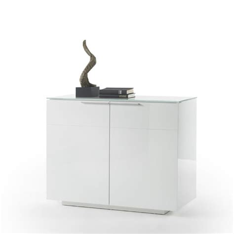 White Glass Sideboard by Canberra Compact Sideboard In White Glass Top And High