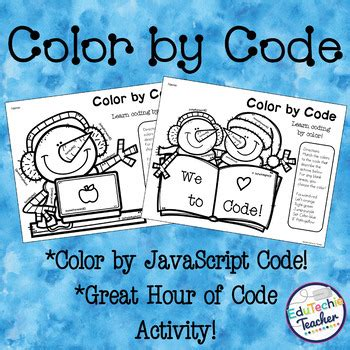 color  code hour  code javascript coloring activity