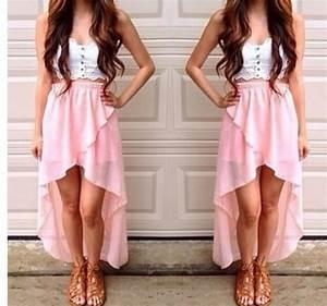 Skirt: pink, high-low dresses, summer, summer skirt, cute ...
