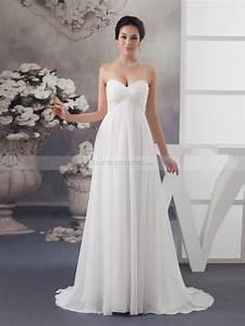 Beaded empire cut strapless chiffon bridal dress for Wedding dress cuts