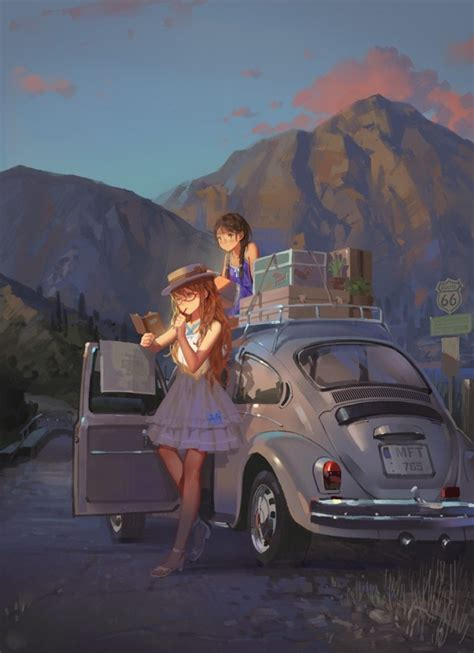Anime Car Wallpaper - anime mountains car volkswagen beetle wallpapers