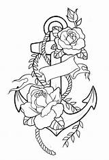 Tattoo Anchor Drawing Flower Sketches Drawings Stencils Anker Coloring Tattoos Addition sketch template