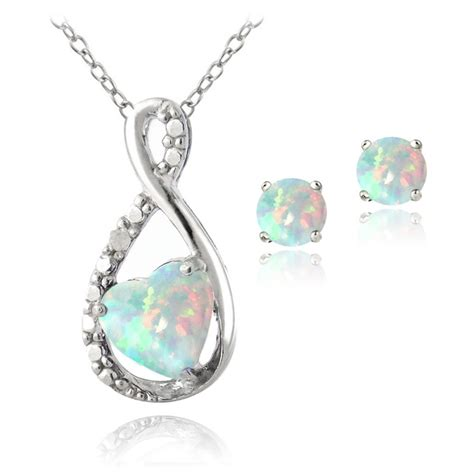 sterling silver created opal diamond accent infinity