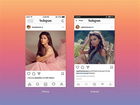 instagram ui feed screen mockup psd template