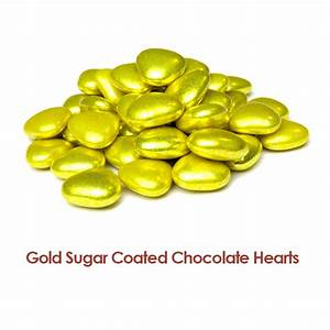 Gold Sugar Coated Chocolate Hearts | Quinzi's Confectionery